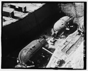 Oscar-Zero Minuteman Control Capsule and Equipment Capsule during Construction (U.S. Government public domain image)